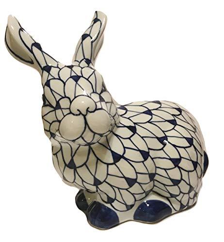 TUI Imports Blue & White Porcelain Pointed Ears Bunny Rabbit Porcelain Figurine