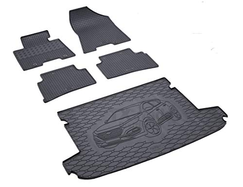 Rigum Passende Gummimatten und Kofferraumwanne Set geeignet für Hyundai Tucson ab 2015 + Gurtschoner