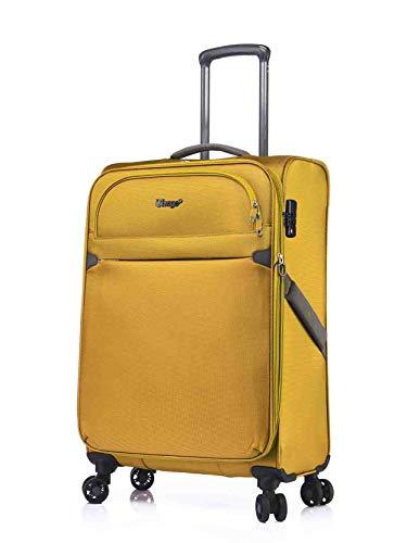 ABISTAB Verage Ultraleicht 4-Zwillingsrollen-Trolley Weichgepäck Koffer L-79cm 95-114L erweiterbar, Stoff Reisekoffer groß, Gelb