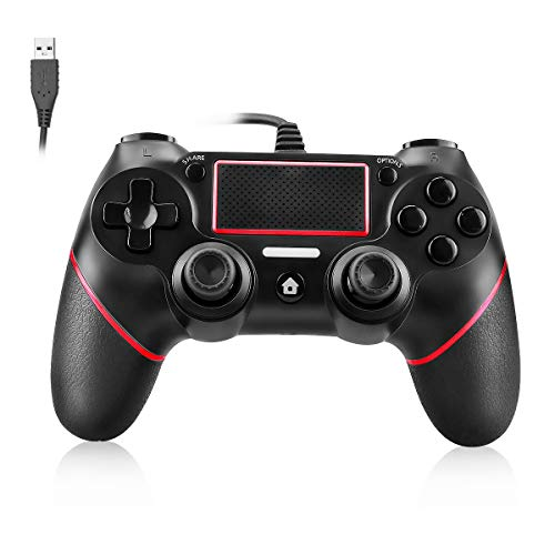 Powcan Controller für PS4, PS4 Controller Wired Gaming Gamepad mit Dual-Vibration-Turbo und Trigger-Tasten für Playstation 4PS4/PS4 Slim/PS4 Pro and PC mit 2,1m USB Kable (rot)