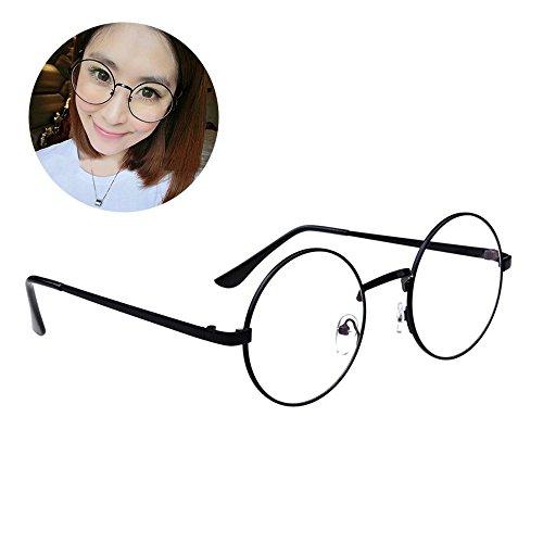 HENGSONG Retro Runde Brille mit Fensterglas Damen Herren Brillenfassung (Schwarz)