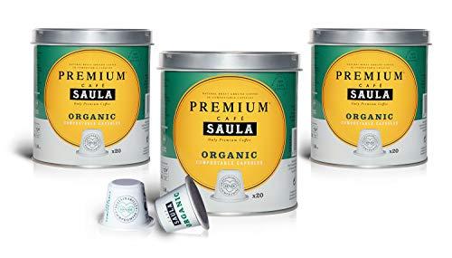 Café Saula, Pack 3 botes con 60 cápsulas compostables. Café 100% Orgánico. Compatibles Nespresso®