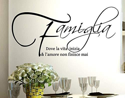 italiano Adesivo Murale Frase Citazione Famiglia Amore e Vita Adesivi Murali Decorazione 50 * 100cm