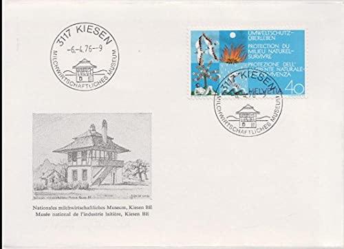 FGNDGEQN Sello Suministros Suiza 1972 sello naturaleza y protección del medio ambiente agua globo fuego pájaro pescado primer día real