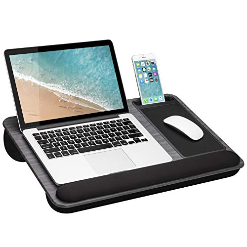 LapGear Home Office Pro Lap Desk with Wrist Rest Mouse Pad and Phone Holder  Fits Up to 156 Inch Laptops  Gray Woodgrain  Style No 91595