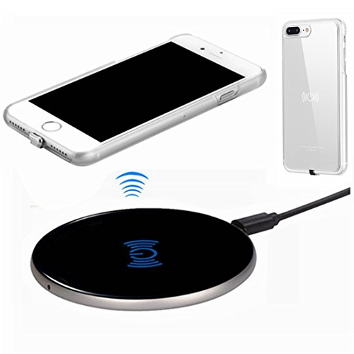 Wireless Charger Kit for iPhone 7 Plus, hanende [Sleep-Friendly] Qi Wireless Charging Pad and Wireless Receiver Case for iPhone 7 Plus (Silver)