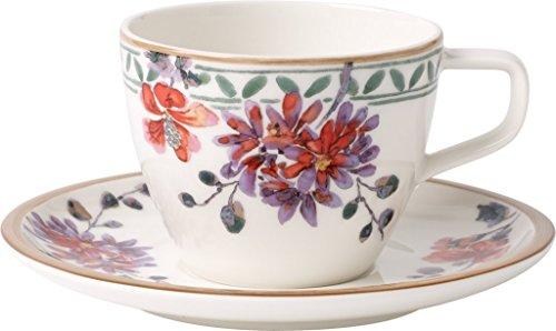 Villeroy & Boch Artesano Provencal Verdure Kaffee Tasse mit Teller, 2Stück, Premium Porzellan, Mehrfarbig