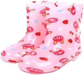 Generic Children Shoes PVC Rubber Kids Baby Cartoon Rain Boots Waterproof Water Shoes, Size:28(Pink Bear)