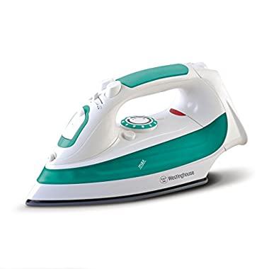 Westinghouse WSI300 Steam Iron with 7.4 Ounce Water Tank, 1200 Watts, Comfort Grip, White with Green Accents