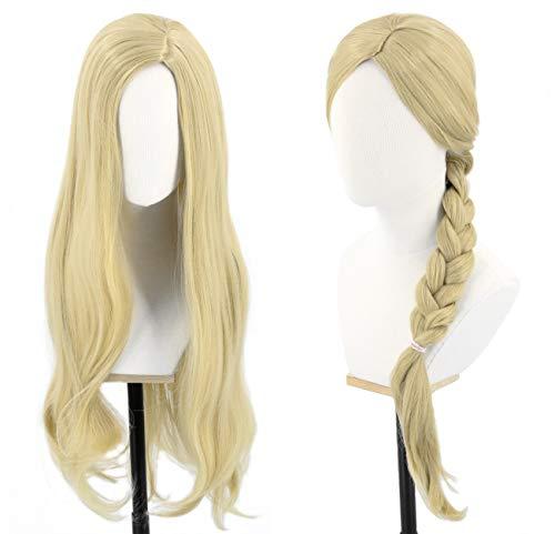 Topcosplay 28inch Kids Girls Wigs Blonde Long Wavy for Tangled Rapunzel Wig