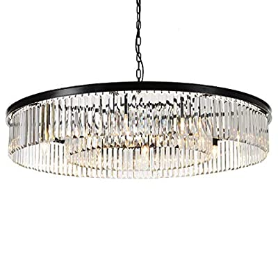 "MEEROSEE Crystal Chandeliers Modern Chandelier Island Lighting 12 Lights Raindrop Pendant Ceiling Light Fixture for Dining Room Living Room Kitchen Bedroom W43.31"" Black Frame Base"