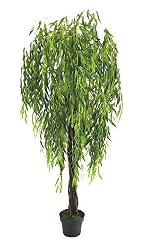Decovego Weide Weidenbaum Kunstpflanze Kunstbaum Künstliche Pflanze mit Echtholz 180cm