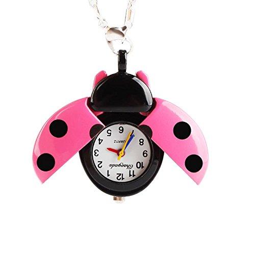 zhuotop mujeres niñas mariquita perlas ala abierta collar de cadena de cuarzo reloj de bolsillo