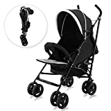 Costzon Baby Stroller, Foldable Pushchair with 5-Point Safety Harness & Adjustable Canopy, Reclining Seat, Front Handlebar, Large Storage Basket, Black