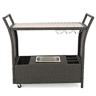 Mystique Grey Wicker Bar Cart