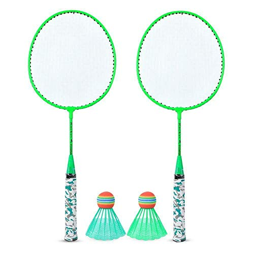 AlvisHa Children's Badminton Set 2 Rackets and Indoor Sports 2 Colors,Fluorescent Green