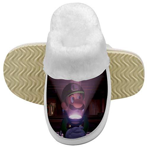 971 Lui-gi's Man-sion Nacht-Taschenlampe Kinder Mehrere Größen Anti-Rutsch Mode Plüsch Hausschuhe Baumwolle Indoor & Outdoor Hausschuhe für Jungen Mädchen