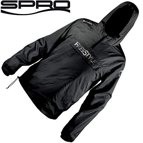 Spro Freestyle Storm Shield Black - Angeljacke, Regenjacke für Spinnangler, Jacke zum Street Fishing, Windjacke für Angler, Größe:M