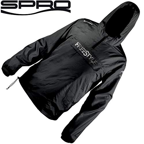 Spro Freestyle Storm Shield Black - Angeljacke, Regenjacke für Spinnangler, Jacke zum Street Fishing, Windjacke für Angler, Größe:L