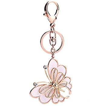 AYHU Rose Gold Tone Cute Butterfly Bag Charm Keychain Car Key Chain with Key Rings for Women Girls Gifts