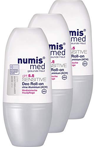 numis med Deo Roll-on ph 5.5 SENSITIVE - Hautpflege vegan & ohne Aluminium - Deodorant für sensible, feuchtigkeitsarme & zu Allergien neigende Haut im 3er Pack (3x 50 ml)
