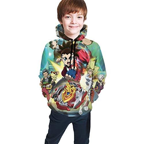 Bey-Bla-De Funny Bur-St Children 3D Printed Hoodies Pullover Sweatshirts Hoodies with Pockets for Teens Boys Girls 14-16 Years Black
