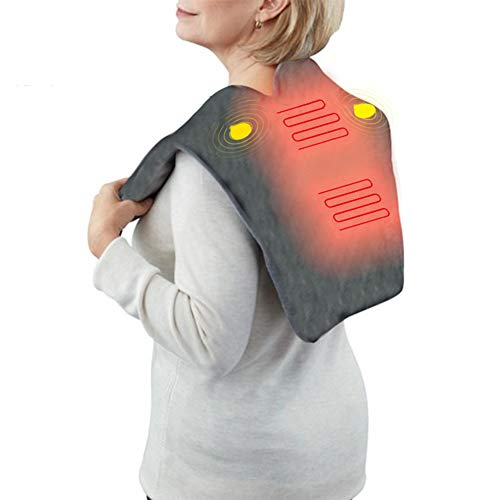 WSN Heating Shawl Pad, USB Heating Pad for Back Pain and Cramps Relief Electric Heat Pads,Vibration Massage Relaxer 3 Heating Levels