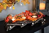 HEITMANN DECO Kerzenhalter aus Reisig - Herbstdeko, Tischdeko - zum Hinstellen - Natur, Orange, Gelb - mit DREI Kerzengläsern - 5