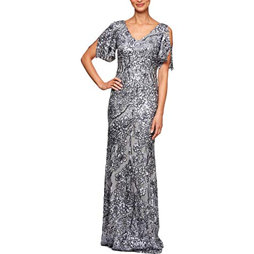 Alex Evenings Women's Long Sequin Dress with Flutter Sleeves, Silver, 12