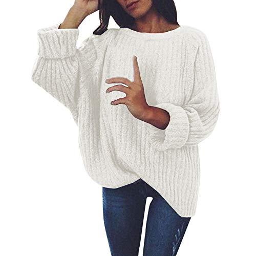 K-youth Blusas Sexys de Mujer Elegante Suéter para Mujer Color Sólido Anchas Camisetas de Manga Larga para Mujer Jerséis Tops (Blanco, XXL)