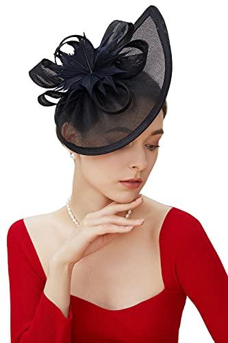 Coucoland Tocado de plumas Sinamay Pastillbox Fascinator Clip de pelo tocado sombrero...