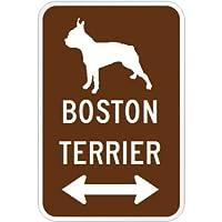 BOSTON TERRIER マグネットサイン ブラウン:ボストンテリア(小) シルエットイラスト&矢印 英語標識デザイン Water Resistant.