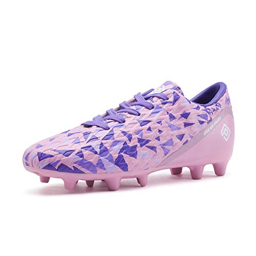 DREAM PAIRS Girls HZ19003K Soccer Football Cleats Shoes Pink Purple Size 6 M US Big Kid