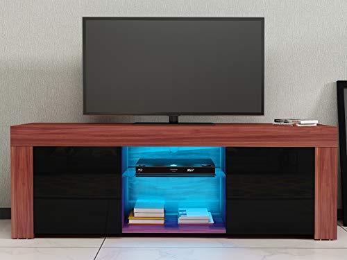 Mueble de TV con dos puertas y estante de cristal, 120 x 35 x 35 cm, color marrón