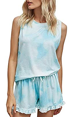 VILOVE Women Tie Dye Pajamas Sets Sleeveless Sleepwear Tank Top Ruffle Shorts Nightwear Loungewear Light Blue
