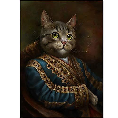 UIOLK Pintura de la Lona Conjunto de Carteles de Animales Abstractos Retro Corte Gato impresión de la Lona Mural decoración Pintura
