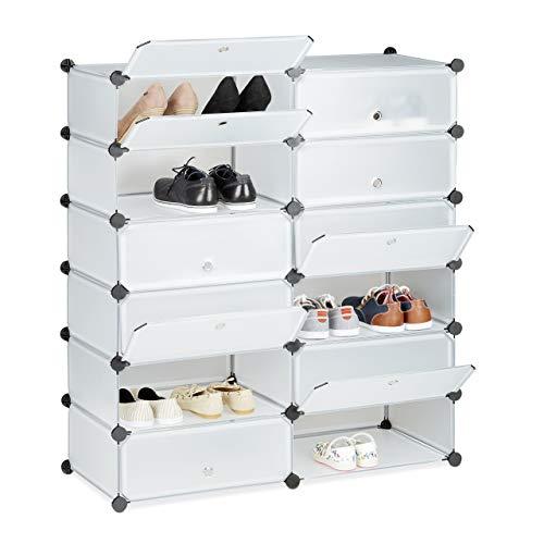Relaxdays Schuhschrank Kunststoff, Schuhregal geschlossen, Regalsystem 12 Fächer, HxBxT: 108 x 94 x...