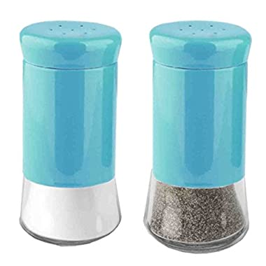 Home Basics Essence Collection Salt and Pepper Shaker Set, Turquoise Blue