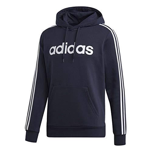 Adidas Essentials 3 Stripes Pullover Fleece Felpa Con Cappuccio, Uomo, Blu (Legend Ink/Bianco), L