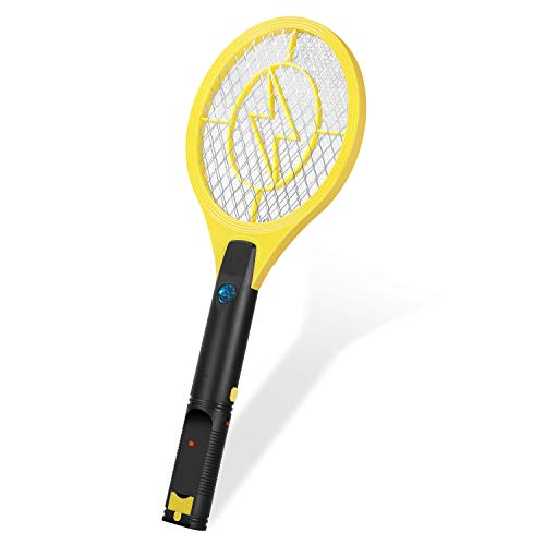 Flexzion Electric Mosquito Zapper Racket 17' Electric Rechargeable Bug Insect Killer/Fly Control Swatter USB Charging, for Bedroom Patio Bites Yard Boat Camping Car Decks Indoor Outdoor - Yellow