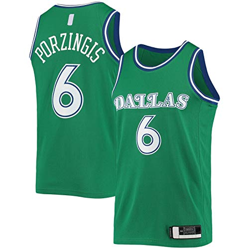 ZHINV Sports Porzingis Kurzarm Dallas Basketball Trikot Mavericks Custom Kristaps #6 Hardwood Classics 2020/21 Swingman Jersey Grün - Classic Edition-XL