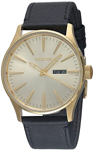 Nixon Men's Sentry Leather A105510 Gold Quartz Fashion Watch