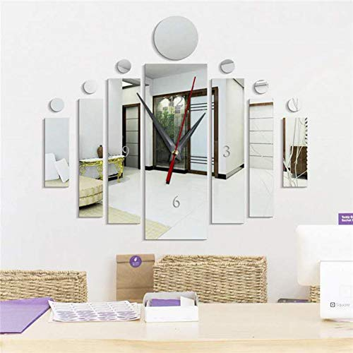Hongyu2019 DIY Wanduhr Moderne Clock, 3D Acryl Spiegel Rahmenlose Wanduhr für Küche Wohnzimmer Schlafzimmer (Silber)