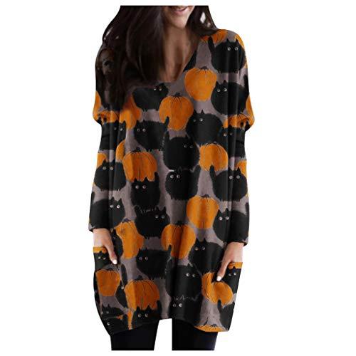 Lazzboy Store Halloween Langarm Tops Damen Shirt Tunika Bluse Asymmetrisch Pullover Top Frauen Laterne Ghost Pumpkin Gesicht Kostüm Oberteile