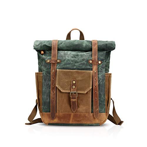 FANDARE Moda Impermeable Bolso de Escuela Viaje Mochila Hombres 15.6 Pulgadas Laptop Backpack Outdoor Camping Gran Capacidad Rucksack Lona Verde