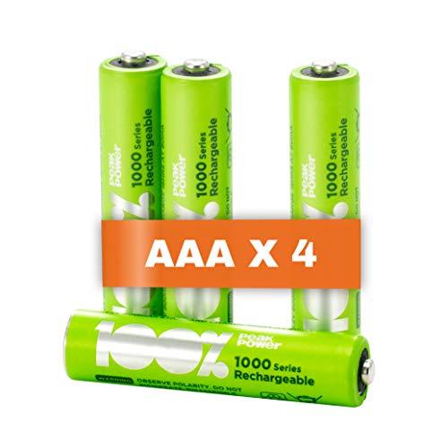 100%PeakPower 4 x Pilas Recargables AAA Capacidad mínima Garantizada 800 mAh NiMH | Baterías AAA Recargables Que Vienen precargadas Listas para Usar | Bajo Nivel de autodescarga
