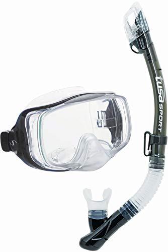 TUSA Sport Imprex 3D Dry Schnorchelset schnorchel-maske trocken schnorchel silikon, erwachsene, schwarz (Smoke)