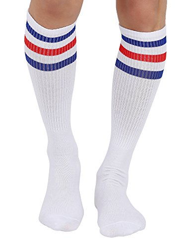 Joulli Men's Triple Stripes White Knee High Tube Socks 1 Pair