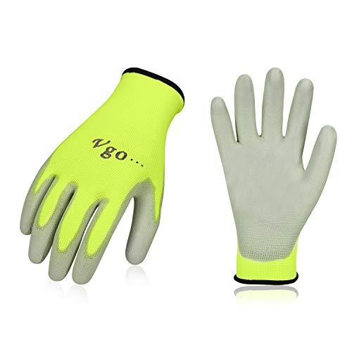 Vgo,15 paia, guanti da lavoro e giardinaggio in PU, guanti da giardino, edile, multifunzione (10/XL, Verde fluorescence, PU2103)