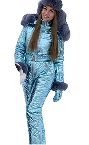 Women Winter Onesies Ski Jumpsuit Outdoor Sports Snowsuit Fur Collar Coat Jumpsuit with Hoodies Removable (Blue,X-Large)